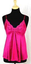 MISS ELAINE CRANBERRY RED NYLON LACE DECOR SILKY SEXY LINGERIE CAMISOLE TOP Sz S