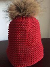 Sombrero de punto rojo niños con piel Pom Pom