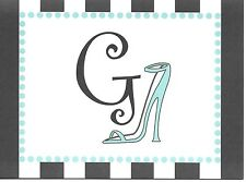 "Fancy Letter Initial G ""G"" Teal High Heel Note Cards - Blank Inside - Set of 2"