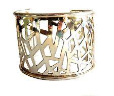 Anju Silver Plated Abstract Filigree Wide Cuff Bracelet (B385)