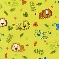 SALE Robert Kaufman Amy Schimler On A Whim 2 Lion Lions Earth Green Fabric Yard