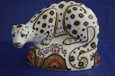 ROYAL CROWN DERBY SNOW LEOPARD PAPERWEIGHT MMVI - BOXED