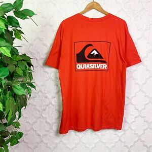 Quiksilver Red Logo Crewneck Graphic Tee Shirt Size XL