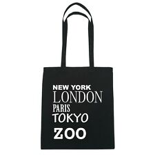 New York,London,Paris,Tokyo Zoo - Jute Bag Bag - Color:Black
