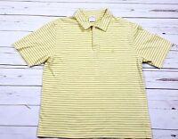 Brooks Brothers 346 Mens M Yellow Green Stripe Polo Shirt Short Sleeve Golf A27