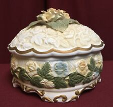 Floral Rose Hand Painted Embossed Ceramic Tureen Bowl w/ Lid & Sculpted Roses 7""