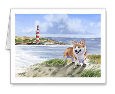 Welsh Corgi At The Beach Set of 10 Note Cards With Envelopes