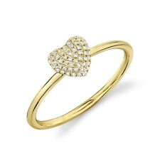 Ring Round Cut Natural Womens 0.11 Ct 14K Yellow Gold Diamond Pave Puffy Heart