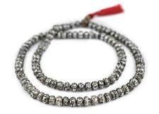 Carved Mother-of-Pearl Prayer Beads 8mm Nepal Silver Round Shell 29 Inch Strand