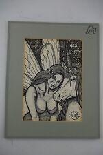 FAIRY UNICORN Ink Art Print Randy B. Cleary SIGNED Furry Anthro Anthropomorphic