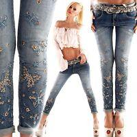 MOZZAAR Jeans  Nieten blau Gr. XS, S, M, L, XL