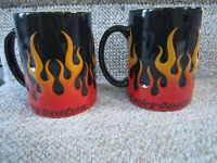 Harley-Davidson Motorcycle Sculpted Flames Coffee Mug 15oz Ceramic Cups 1 (Pair)