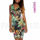 New Sexy Tropical Floral Print Knee-Length Dress Sleeveless Size 6 8 10 XS S M