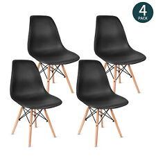 Esszimmerstühle Küchenstuhl, 4er Set, Schwarz mit Beinen aus Massiv-Holz, Buche