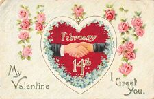 Old February 14th Canadian Valentine PC of Hearts, Clasped Hands, Pink Roses