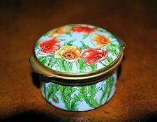 Vintage TKS Birmingham Enamels England Red/Orange Flowers Enamel Trinket Box