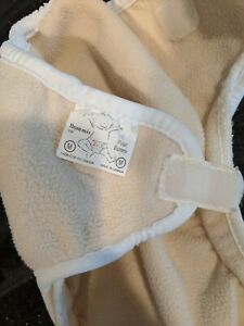 """Bummis """"Polar Bummi"""" Fleece cover - White, Med. Hook and loop Double Gusset VGUC"""