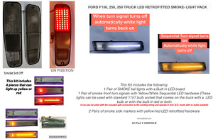 FORD TRUCK BRONCO 78-79 SMOKE LED LIGHTS KIT SIDES & TAIL LIGHTS PACK RARE
