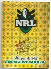 2008 NRL SELECT CHAMPIONS HOLOFOIL CHECKLIST #3 CARD