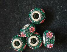 5 GREEN AND PINK RHINESTONE FLOWER BEADS