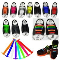 16PC Colored No Tie Elastic Shoe Laces 100% Silicone Trainers Adult Shoelaces GW