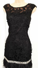 Lipsy VIP Lace Beaded Detail Feather Hem Shift Evening Party Dress Black Sz 10