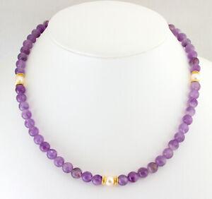 Amethyst Necklace With Akoya Pearls Precious Stone Purple Ladies Noble Ca. 46 CM