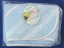 Cross Stitch Hooded Baby Towel Blue with White Edging Cotton Terry
