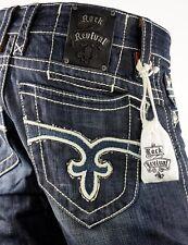 "$220 Mens Rock Revival Jean ""Paul"" Western Stitch Straight Leg 32 X 32"