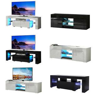 Modern TV Unit Cabinet TV Stand Sideboard Matt Body & High Gloss Doors LED Light