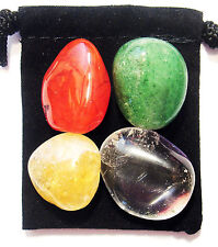MANIFEST BUSINESS SUCCESS Tumbled Crystal Healing Set = 4 Stones + Pouch + Card
