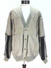 Saxony Men's Cardigan Lined Sweater Jacket Leather Patch Cream Sz XL New w/Tags