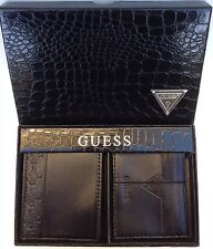 Guess Men's Leather Wallet And Card Case Gift Set Brand New With Tag In Box