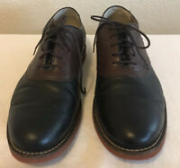 GH Bass & Co Oxford Mens Two Tone Black Brown Leather Lace Up Shoes Size 12D