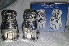 Godinger Silver Art Pugs! Dog Salt & Pepper Shakers Silver Plated in Box unused