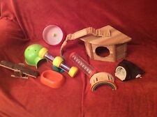 varied collection of hamster toys