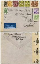 SWEDEN 1942 WW2 CENSOR COVER...8 COLOUR MIXED FRANKING