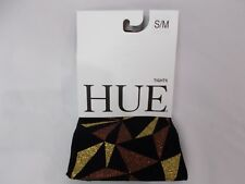 Hue Women's Geo Glitter Printed Tights Black/Gold Size S/M
