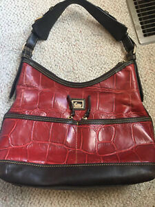 Dooney & Bourke Red Croc Embossed Leather Hobo Shoulder VVGUC