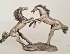 Pewter - Stamped - Horse Pair Figurines Rearing Up