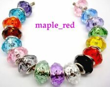 Fashion Faceted Crystal Resin Silver Core Beads Fit European Charm DIY Bracelet