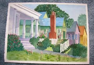 VINTAGE FOLK ART HOUSES HOME STREET GARDEN FLOWER TOPIARY LANDSCAPE ART PAINTING