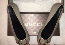 Gucci Women's Sachalin Gray Leather Round Toe Flats UK Sz 38 1/2 /US Sz 8 1/2 M