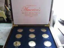 reduced! Tribute To America's Most Beautiful Gold Coins -9 coin set Wood Display