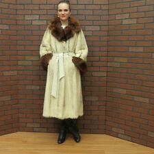 SO FAB! real WHITE & BROWN CROSS MINK & SABLE FOX FUR COAT! BELL SLEEVES  xsm