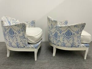 Pair of Vintage Dorothy Draper Style Arm Chairs Palm Beach-Hollywood Regency