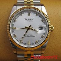 Luxus 36mm Parnis Weißes Zifferblatt Saphir Fenster Miyota Automatik Damen Watch