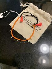 Pura Vida Tangerine Orange Seed Beads & Tassels W Gold Spikes Bracelet New