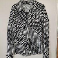 BCBG Max Azria Black/White Abstract Print Long Sleeve Blouse Snap Down Size L