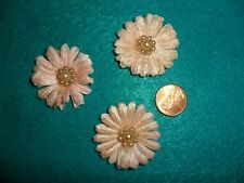 3 Vintage Pastel Pink Velvet Daisies with Center of 9 Pearls- Japan